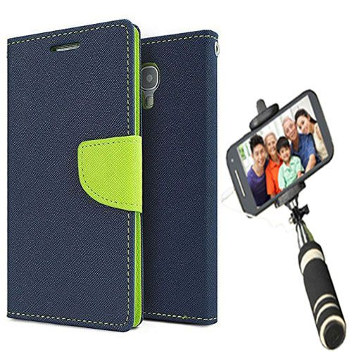 Wallet Flip Case Back Cover For Asus Zenfone selfie-(Blue)+Mini Selfie Stick Compatible for all MobilesBy Style Crome Store