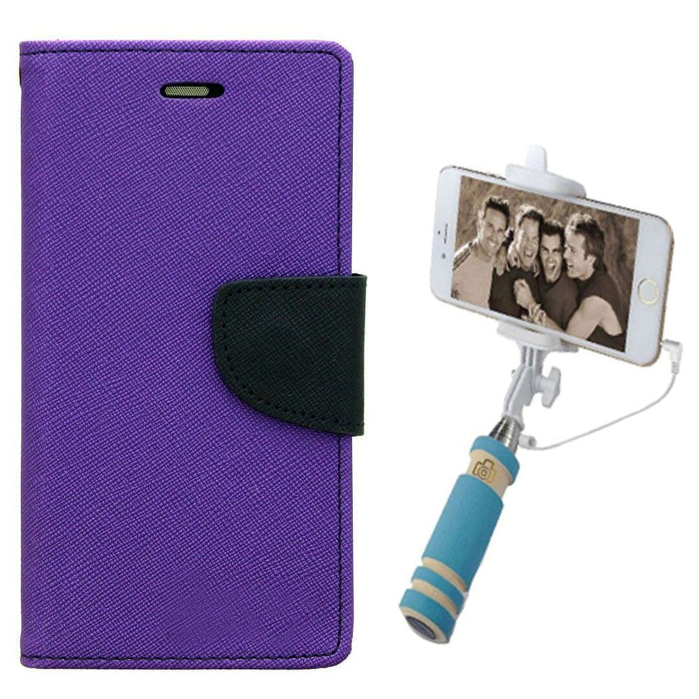 Wallet Flip Case Back Cover For Sony Expria C5-(Purple)+Mini Selfie Stick Compatible for all MobilesBy Style Crome Store