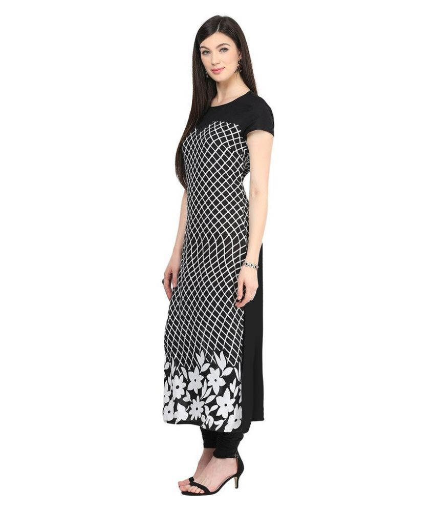 Madhav Enterprise Black Crepe Straight Kurti