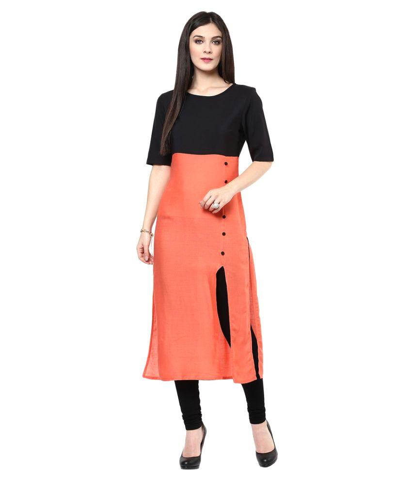 Kavya Fashion Orange Satin Straight Kurti