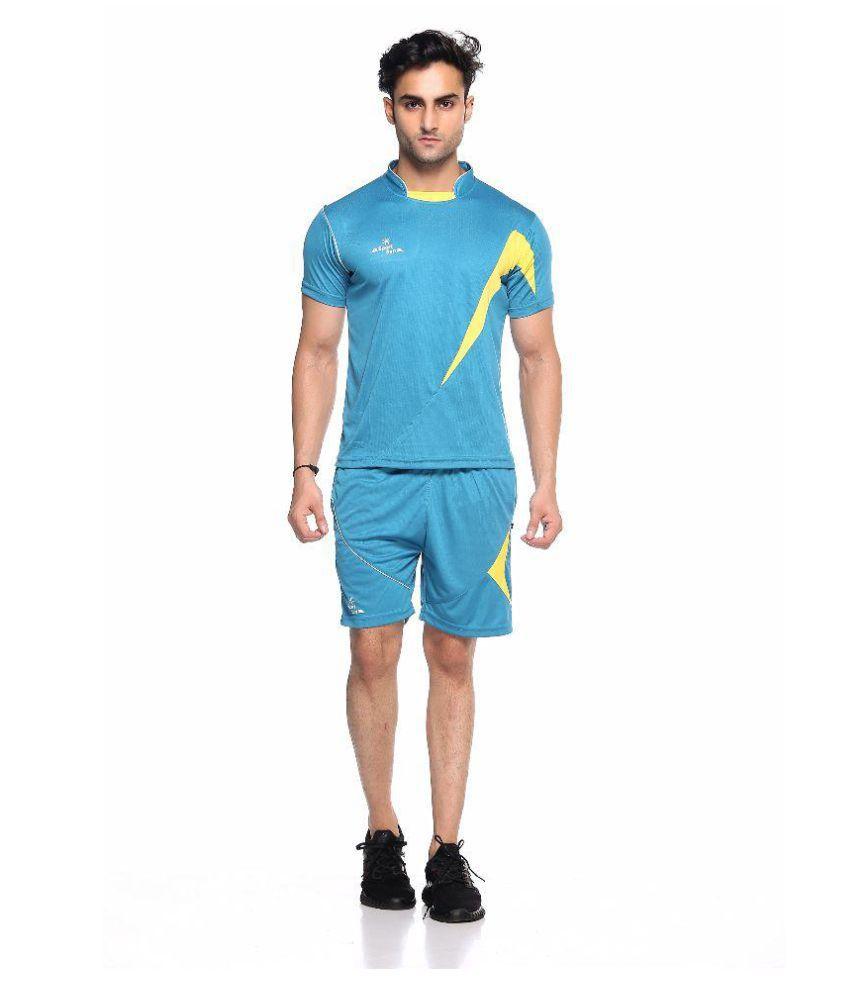 Sport Sun Blue Polyester T-Shirt & Shorts