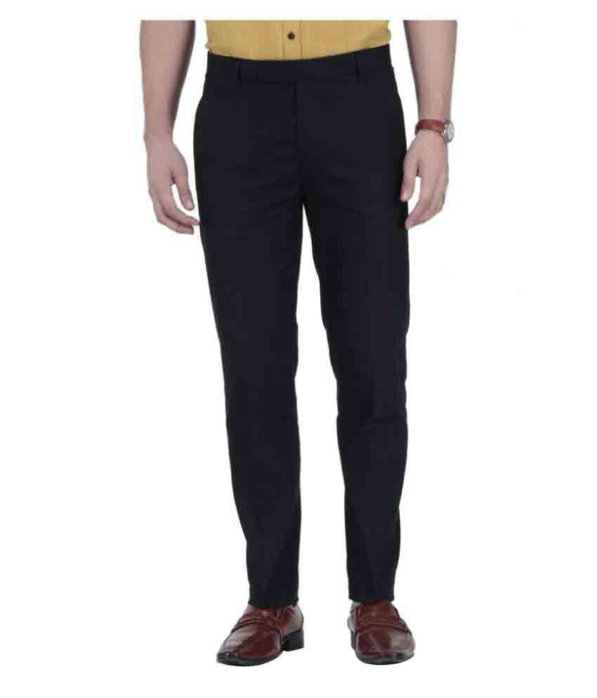 Vandnam Fabrics Black Regular Flat Trouser