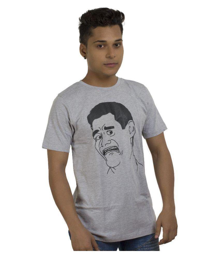 Instastylehub.com Grey Round T-Shirt