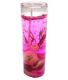 Home Shop Retails Glass Shape Gel Pink Candle (Pack Of 2)
