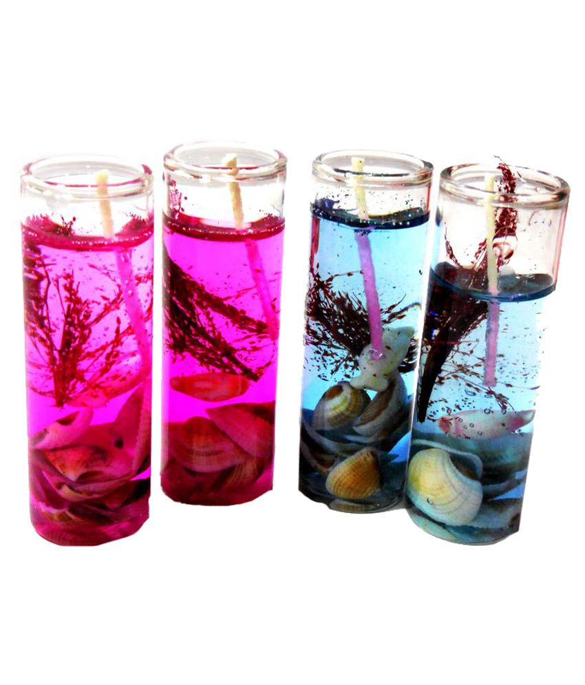 Home Shop Retails Glass Shape Gel Candles (Pink & Blue, Pack Of 4)