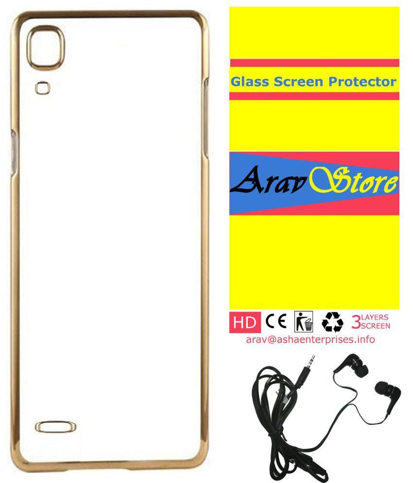 release date: de4b4 7c41e AravStore Meephone Soft Back Cover With Screen Protector and Hand Free For-  Vivo Y31L -Gold
