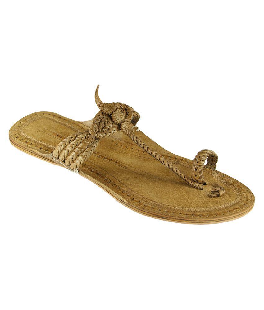 EKolhapuri Beige Flat Ethnic Footwear