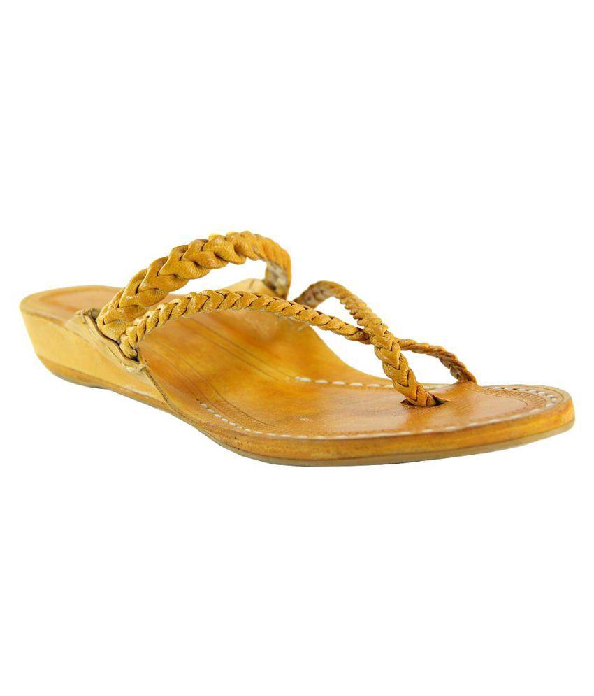 Ekolhapuri Yellow Wedges Ethnic Footwear
