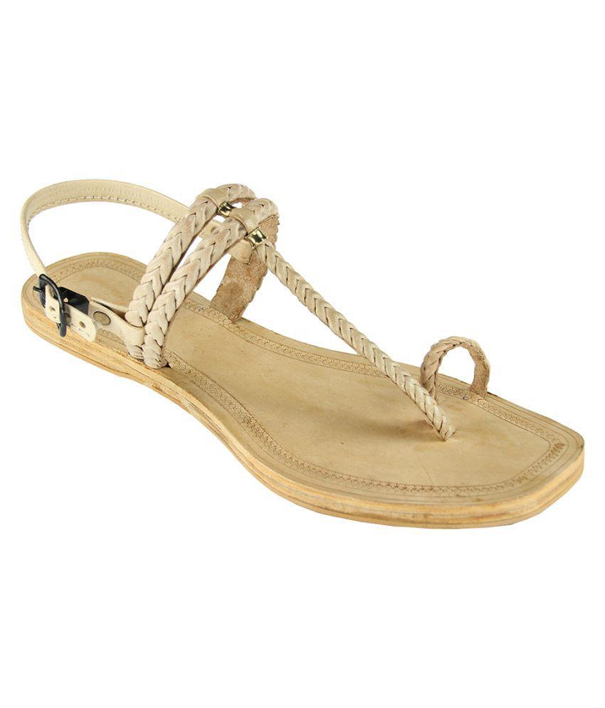 eKolhapuri Beige Flat Heels