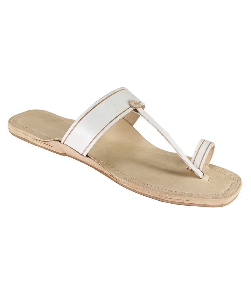 eKolhapuri White Flat Ethnic Footwear