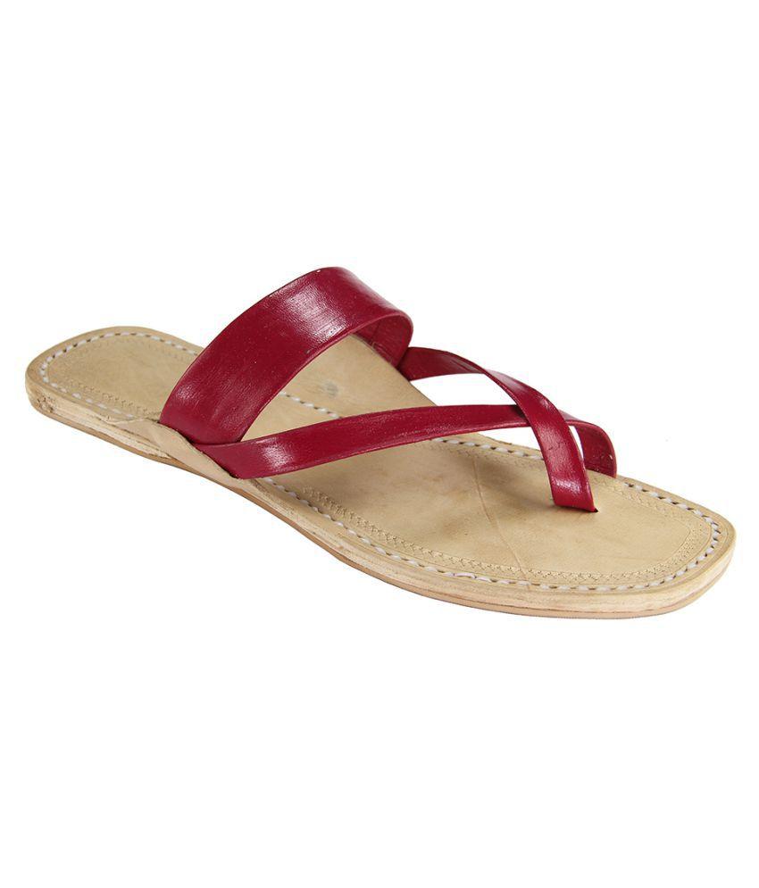 eKolhapuri Maroon Flat Ethnic Footwear