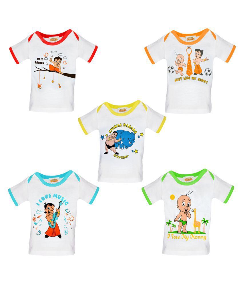Chhota Bheem White Cotton baby tshirt - Pack of 5