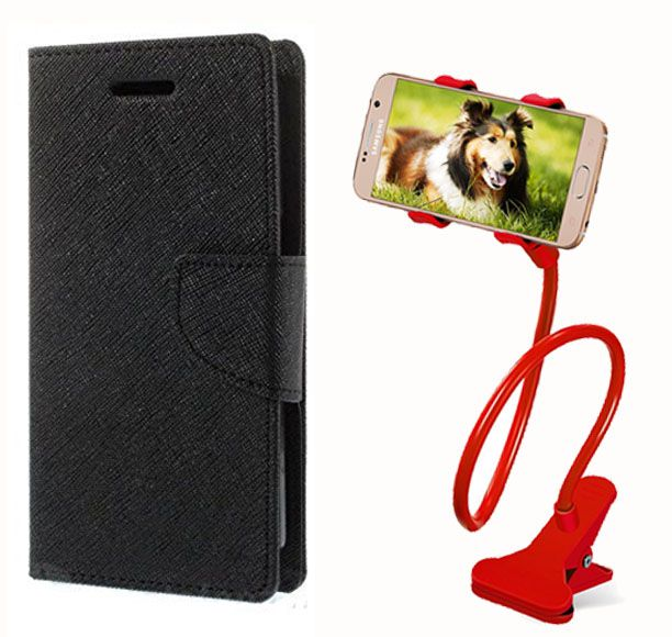 Flip Case Back Cover For Micromax A110Q(Black) + 360 Rotating Lazy  Bed Moblie Stand for by Style crome.