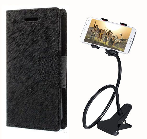 Fancy Flip Case Back Cover For Sony Xperia M2(Black) + 360 Rotating Bed Mobile lazy stand by  Aart store.