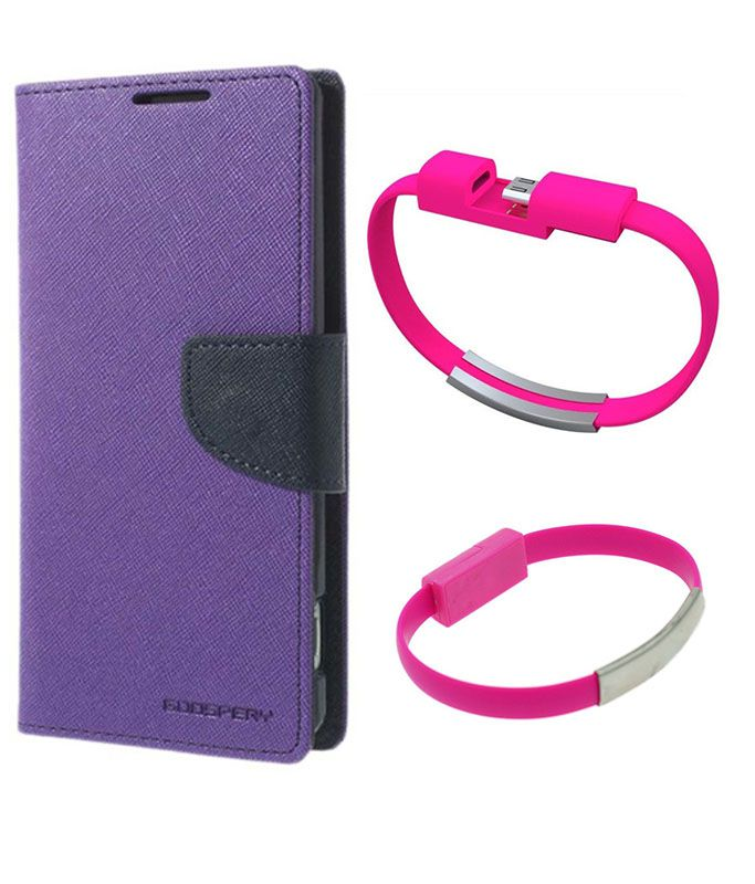 Wallet Flip Case Back Cover For Nexus 5-(Purple)+USB Bracelet Cable Charging for all smart phones by Style Crome.