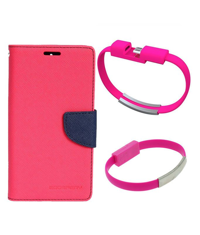 Wallet Flip Case Back Cover For Asus Zenfone C-(Pink)+USB Bracelet Cable Charging for all smart phones by Style Crome.