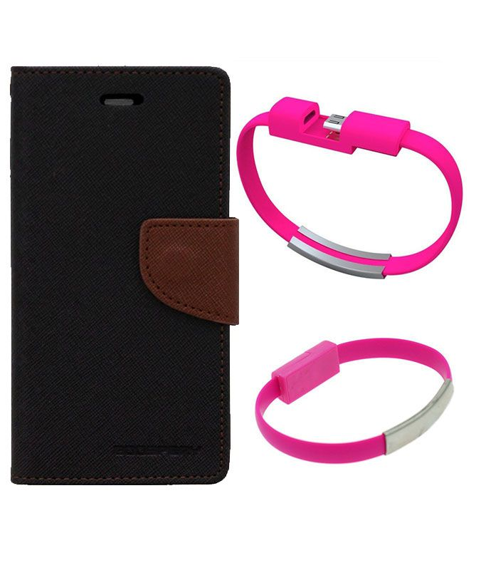 Wallet Flip Case Back Cover For Micromax E311-(Blackbrown)+USB Bracelet Cable Charging for all smart phones by Style Crome.