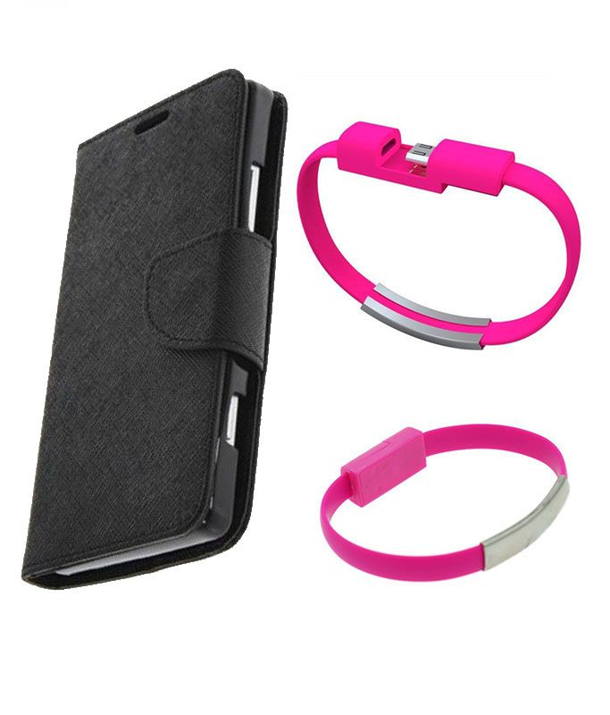 Wallet Flip Case Back Cover For Samsung 9500-(Black)+USB Bracelet Cable Charging for all smart phones by Style Crome.