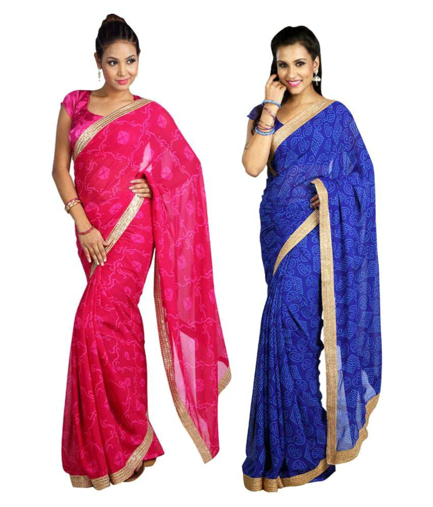 Kanooda Fashions Multicoloured Georgette Saree Combos