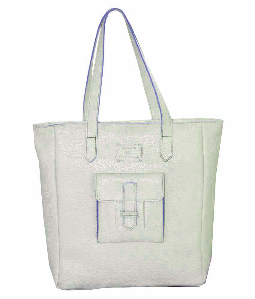 Know Me Enterprises White P.U. Shoulder Bag