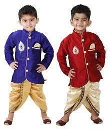 Ftcbazar Multicolor Cotton Dhoti Kurtas - Pack of 2