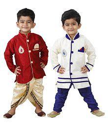 Ftcbazar Multicolor Dhoti and Pajama with Kurta Set
