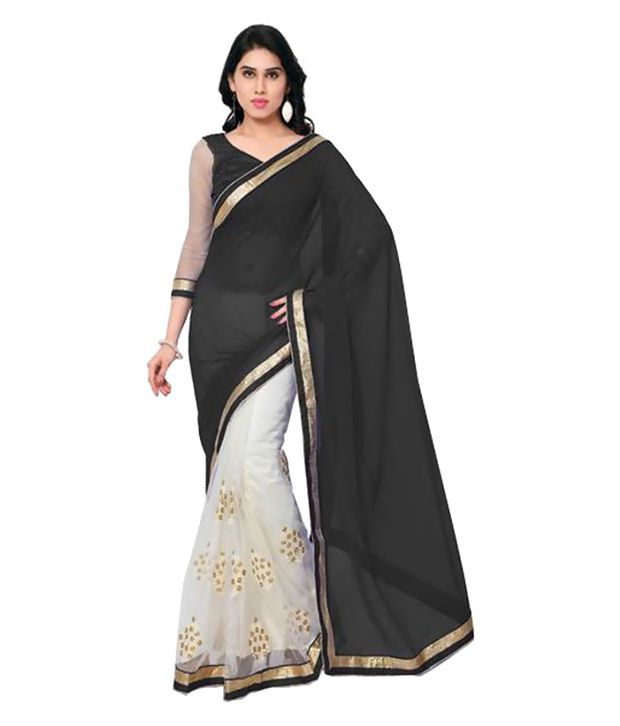 Welcome Fashion Beige and Grey Georgette Saree