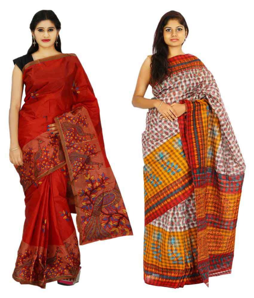 Khaja Multicoloured Cotton Saree Combos
