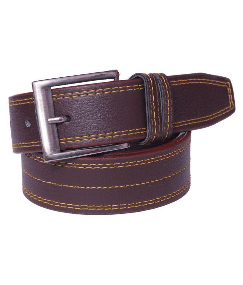 Coovs Maroon PU Casual Belts