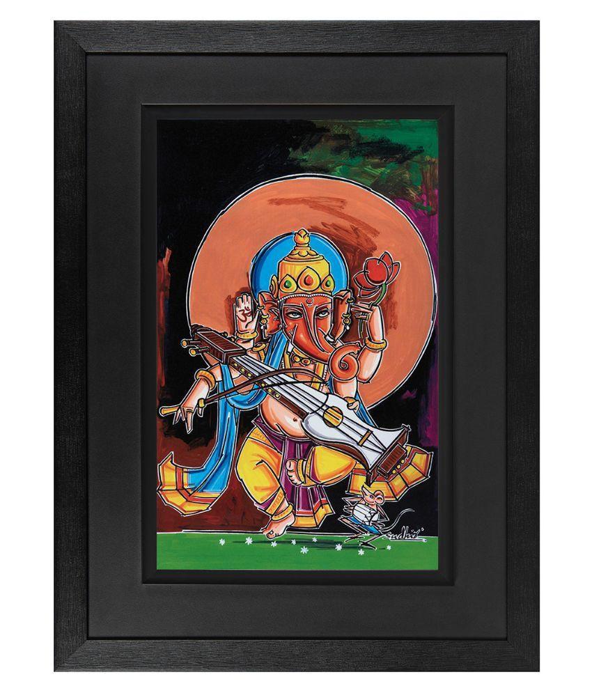 JAF Ganesha Wood Art Prints With Frame Single Piece