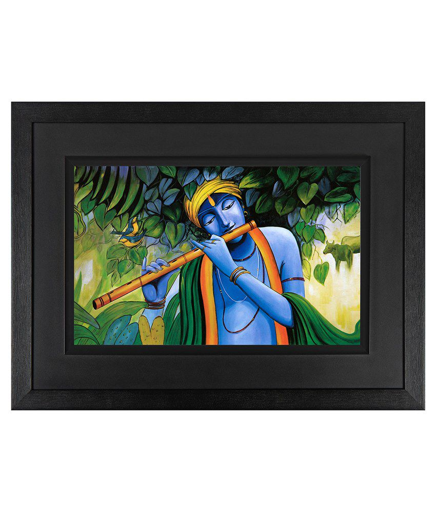 JAF Shree Krishna Wood Art Prints with Frame Single Piece
