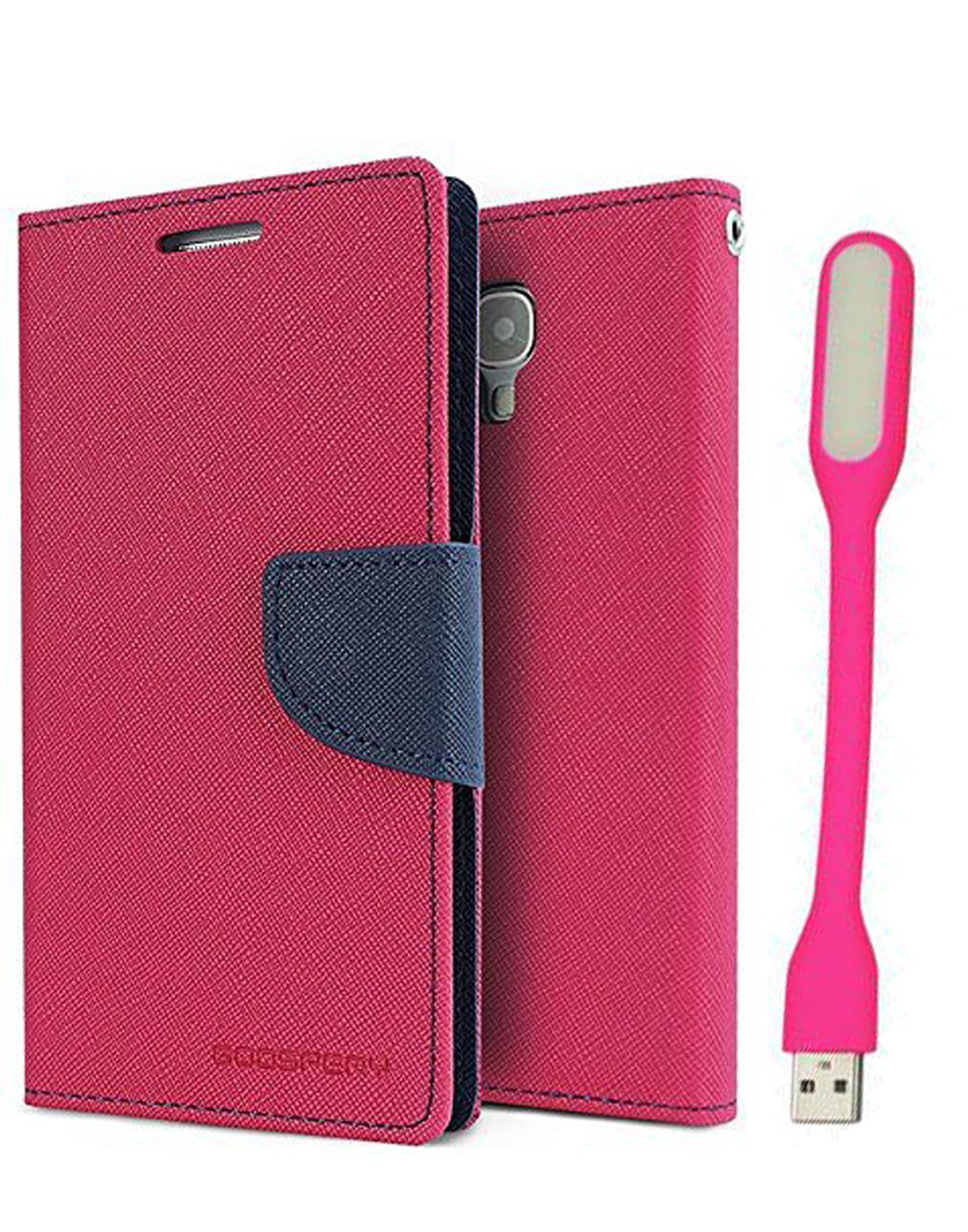 Wallet Flip Case Back Cover For Samsung J5 - (Pink) + Flexible Mini LED Stick Lamp Light By Style Crome