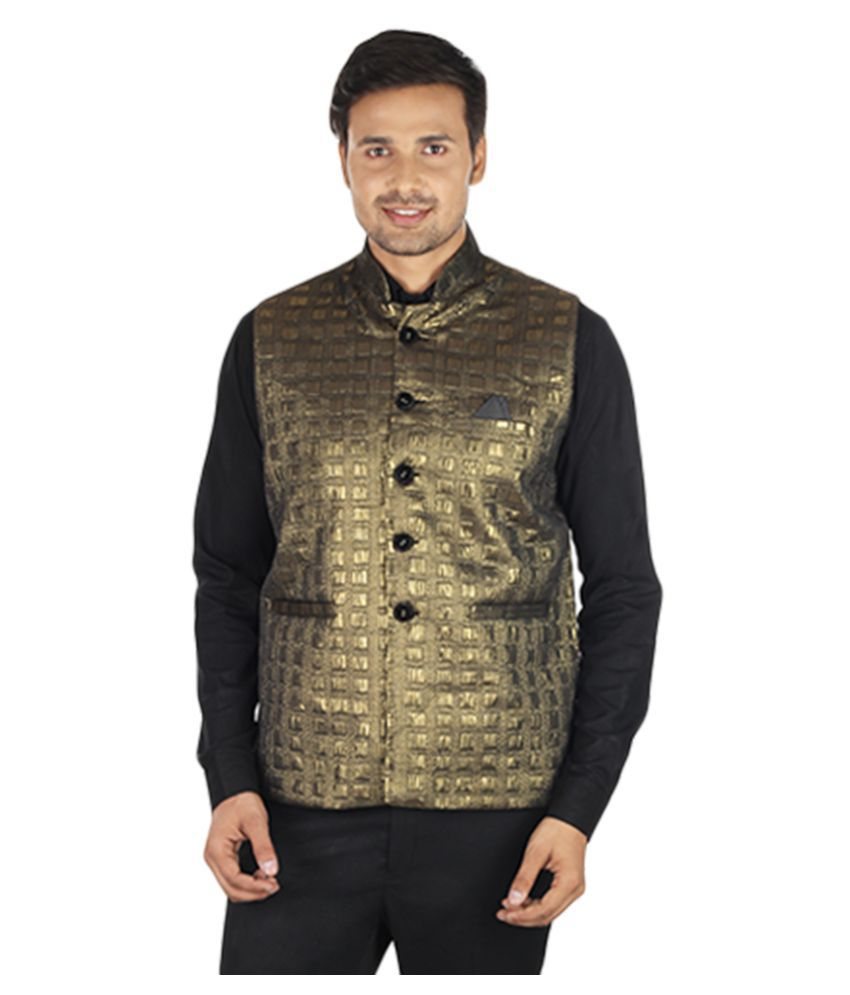 Havello Gold Solid Party Waistcoats