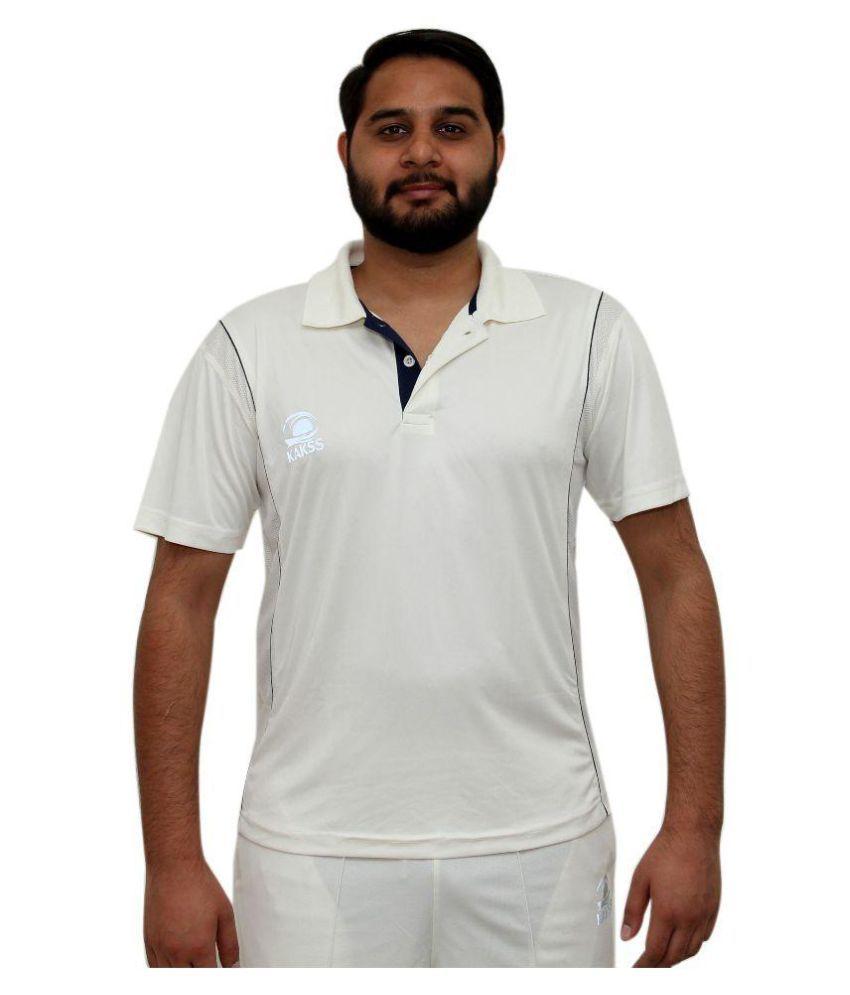 Kakss White Polyster Cricket Polo T-Shirt for Men