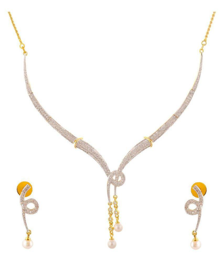 Jwells & More Gold American Diamond Necklace Set