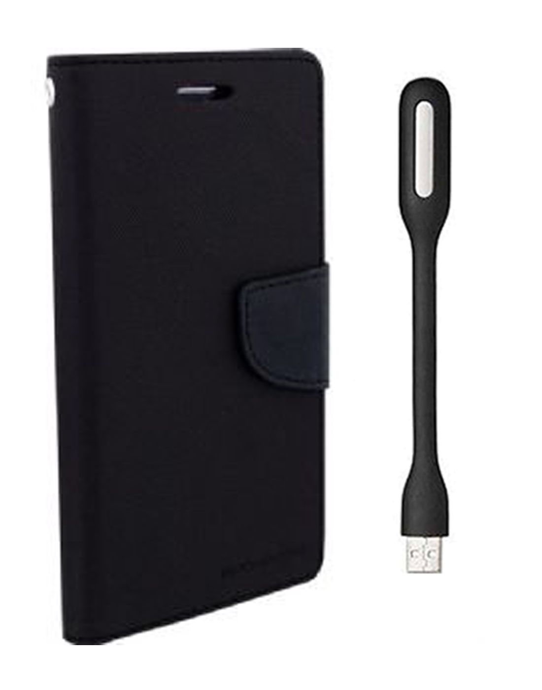 Wallet Flip Case Back Cover For Micromax A210 -(Black) + Flexible Mini LED Stick Lamp Light By Style Crome