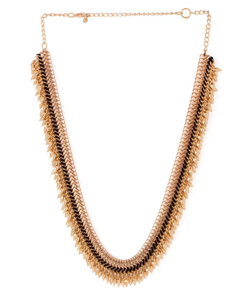 Voylla Golden Alloy Crystal Necklace