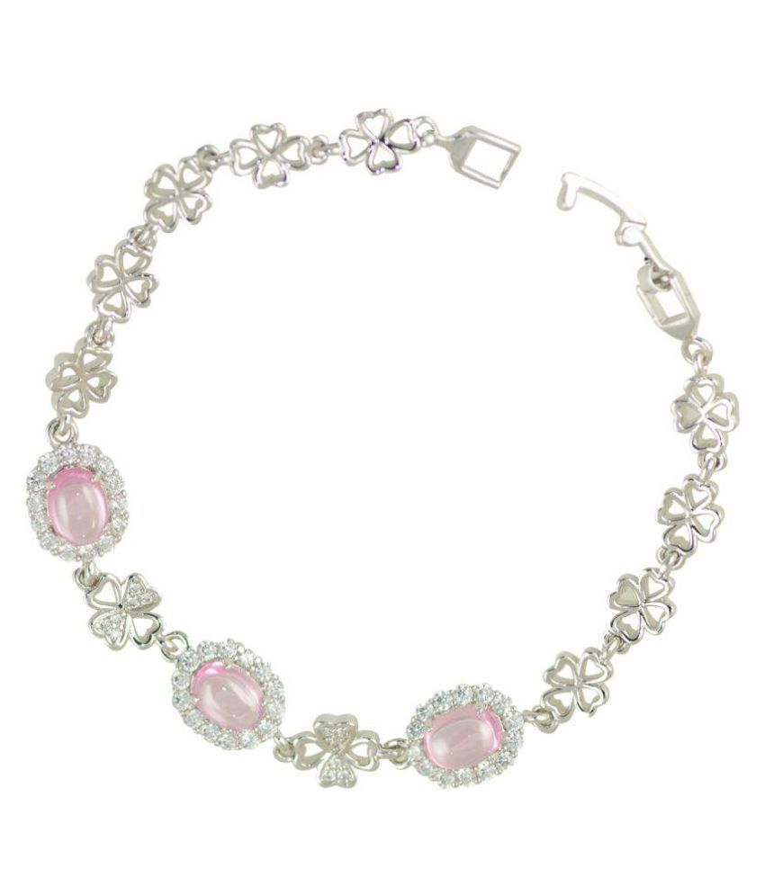 Glitters Online Silver Rhodium Plated Pink and White Cubic Zircon Adjustable Imported Bracelet for Girls