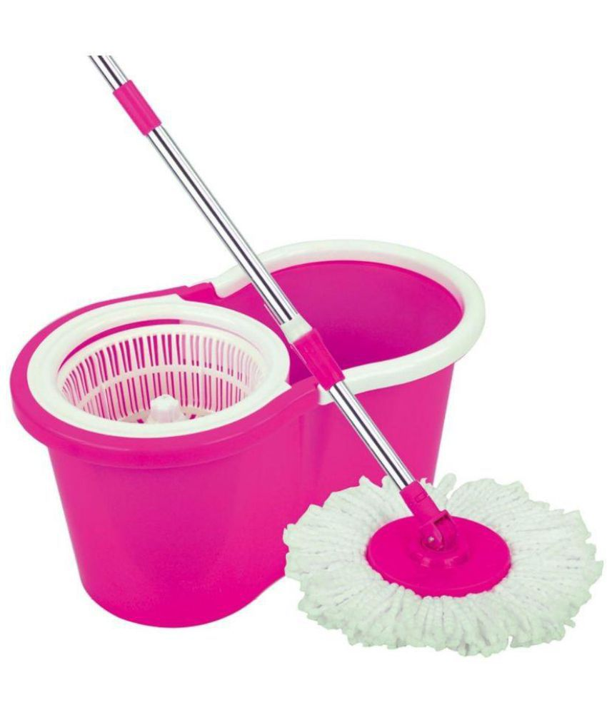 Fourasc Super Spin Pink Double Bucket Mop Safe For Use On