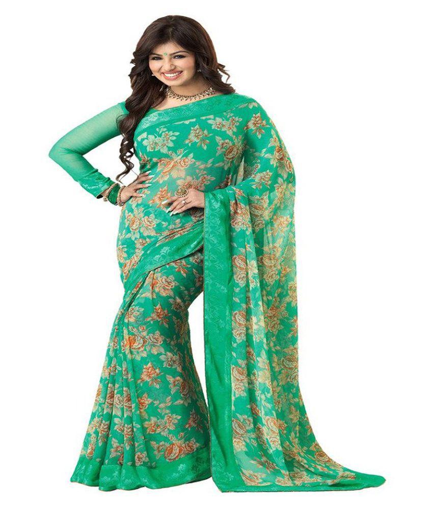 Kesu Fashion Green Georgette Saree