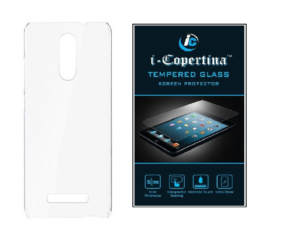 low priced 1e357 3156b Micromax Canvas Evok E483 Transparent Back Cover and Tempered Glass Combo  Set by iCopertina