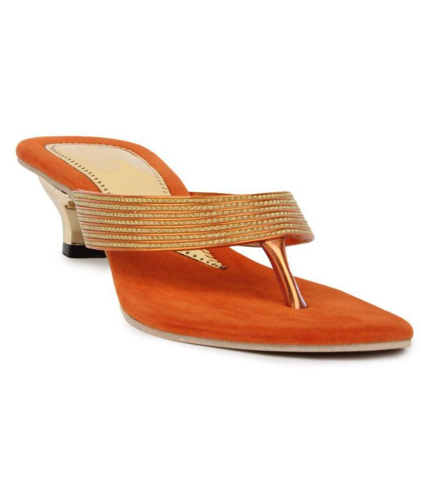 9430f4a89af5 Star Style Orange Cone Heels available at SnapDeal for Rs.799