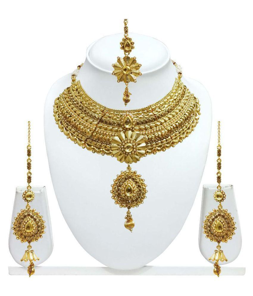 Arts Chetan Golden Necklace Set