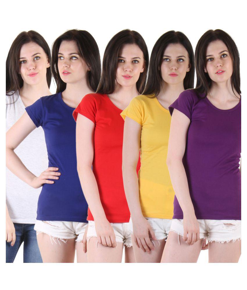 Diaz Multi Color Cotton T-Shirts
