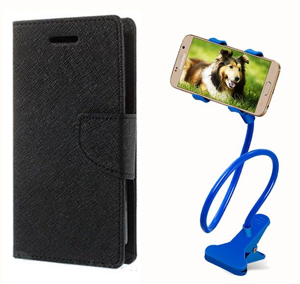 Fancy Flip Case Back Cover For Asus Zenfone 5(Black) + 360 Rotating Bed Mobile lazy stand by  Aart store.