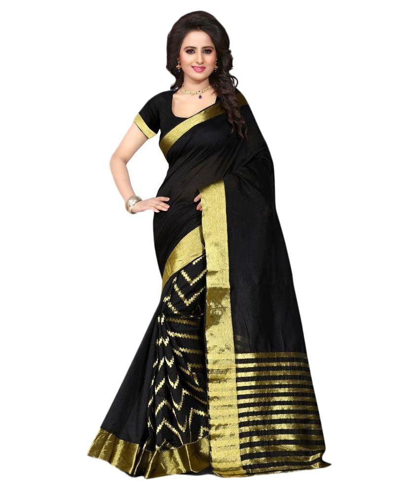 Fabfuture Black Polycotton Saree