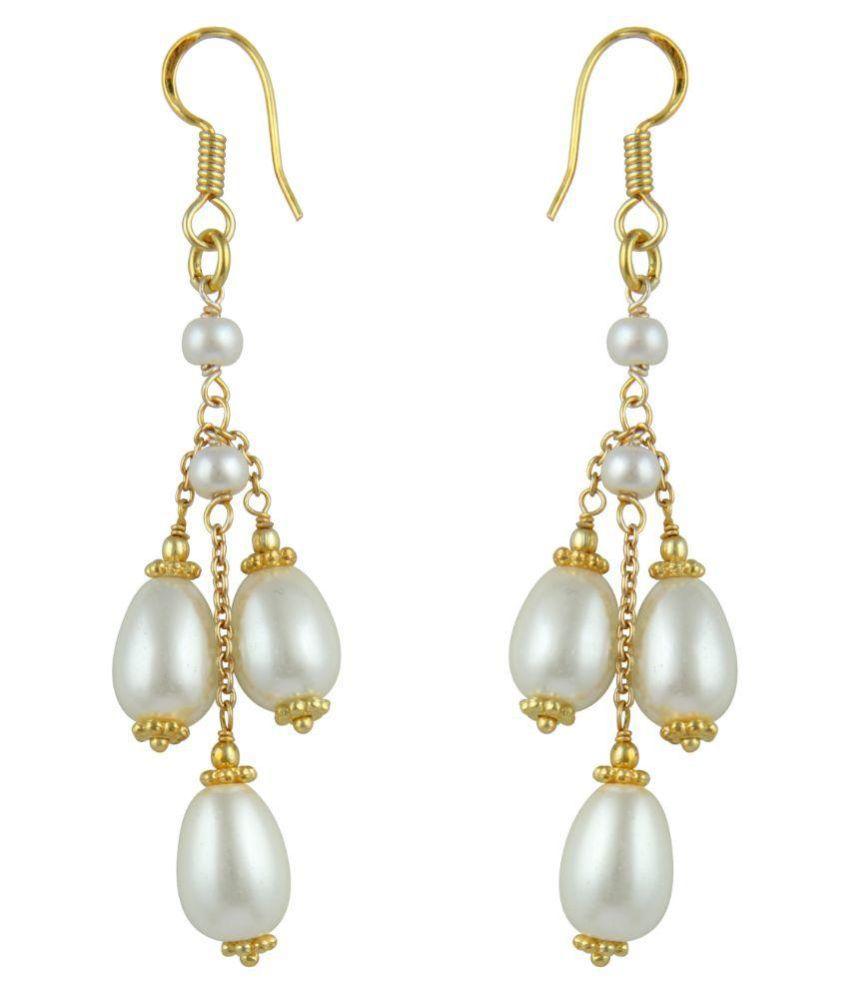 Paradise White Hanging Earrings