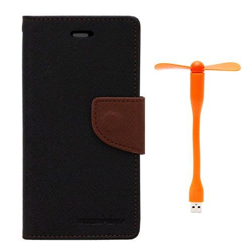 Wallet Flip Case Back Cover For Samsung S6 Edge - (Blackbrown)+Flexible Stylish Mini USB Fan in Orange color By Style Crome