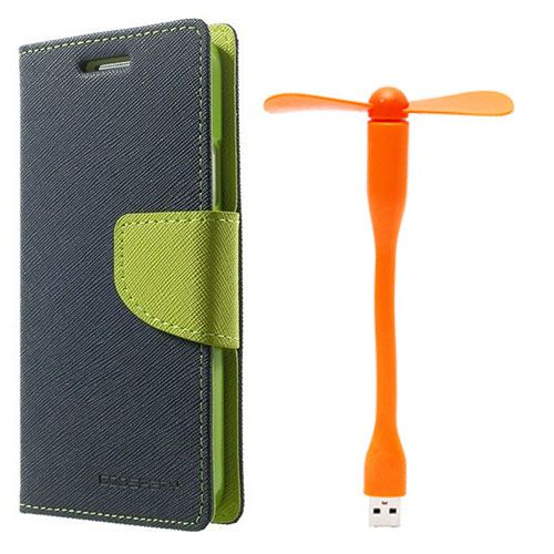 Wallet Flip Case Back Cover For Lenovo A6000 - (Blue)+Flexible Stylish Mini USB Fan in Orange color By Style Crome