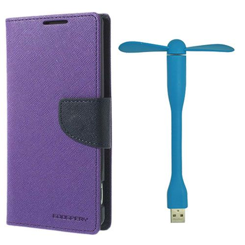 Wallet Flip Case Back Cover For Sony Xperia M4 - (Purple)+Flexible Stylish Mini USB Fan in Blue color By Style Crome